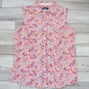 Basic Editions Sleeveless Floral Print Shirt